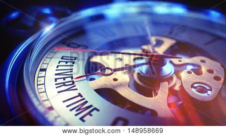 Delivery Time. on Pocket Watch Face with Close Up View of Watch Mechanism. Time Concept. Light Leaks Effect. 3D Render.