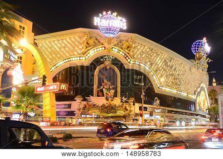 LAS VEGAS - DEC 24: Harrah's Las Vegas is a luxury resort and casino on Las Vegas Strip on Dec. 24, 2016 in Las Vegas, Nevada, USA. The hotel has Carnival and Mardi Gras theme.