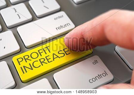 Hand Pushing Yellow Profit Increase Computer Keyboard Keypad. 3D Render.