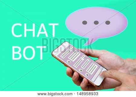 Chatbot concept. social media mesh and man using chatting on smart phone