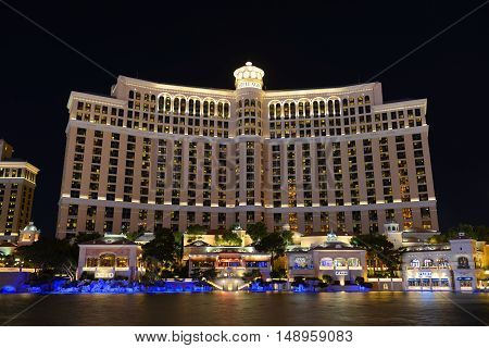 LAS VEGAS - DEC 24: Bellagio is a luxury resort and casino on Las Vegas Strip on Dec. 24, 2016 in Las Vegas, Nevada, USA. The hotel is owned by MGM Resorts International.