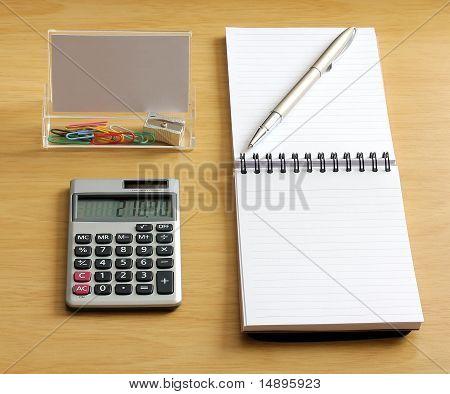 Notebook Pen Calculator Paper Clips Sharpener