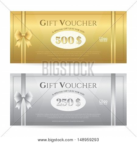 Elegant gift card or gift voucher template with shiny gold and silver bows and ribbons vector