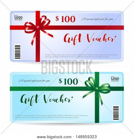Gift card or gift voucher with shiny red and green bow ribbon vector on light purple and blue background