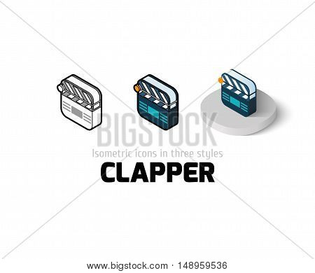 Clapper icon, vector symbol in flat, outline and isometric style