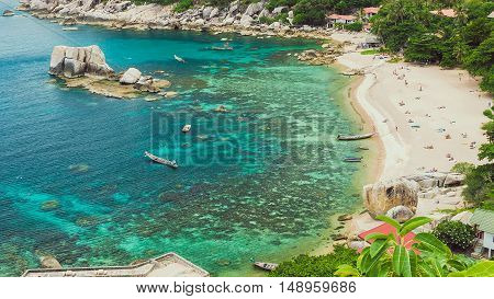 Tanote Bay with Beautiffull Coral Reef, Koh Tao, Thailand.