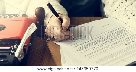 Senior Adult Signing Contract Concept