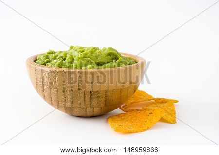 Nachos and guacamole in bowls isolated on white background