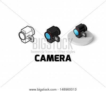 Camera icon, vector symbol in flat, outline and isometric style