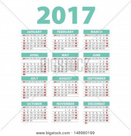 2017 Calendar - Illustration Vector Template Of 2017 Calendar Blue