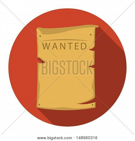 Wanted icon flat. Singe western icon from the wild west flat.