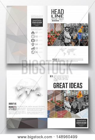 Set of business templates for brochure, magazine, flyer, booklet or annual report. Polygonal background, blurred image, urban landscape, cityscape, modern triangular texture.