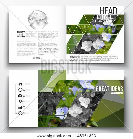 Set of annual report business templates for brochure, magazine, flyer or booklet. Polygonal floral background, blurred image, blue flowers in green grass closeup, modern triangular texture.