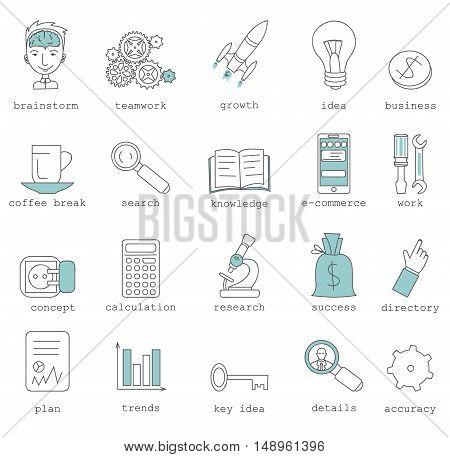 Line icons with flat design elements of corporate business work flow, cloud solution for small team, startup development and management. Modern infographic vector logo pictogram collection concept.