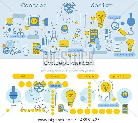 Flat line design illustration concepts for big idea, marketing, brainstorming, business, team work, company strategy. Modern line style illustration for web banners, hero images, printed materials