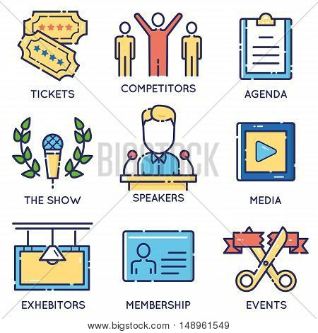 Vector modern stylish flat linear icons set of event management event service and special event organization for app and web design navigation - part 1