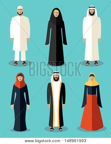 Muslim people flat icons. Traditional culture arabic, people arabian, vector illustration