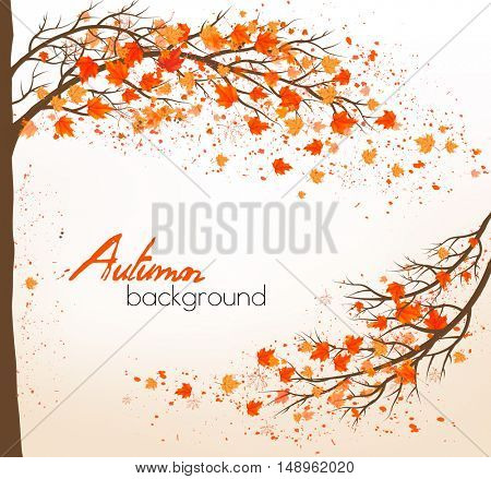 Autumn background with a tree and colorful leaves. Vector