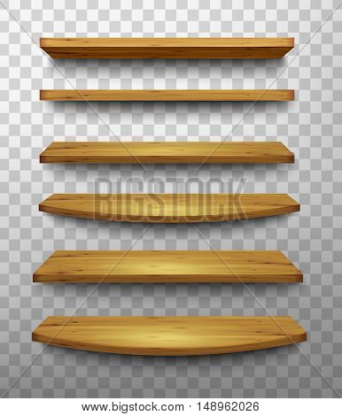 Set of wooden shelves on a transparent background. Vector.