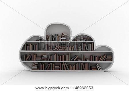 Digital image of books arranged on gray bookshelves against black background