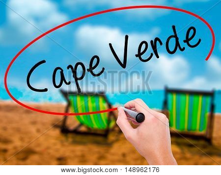 Man Hand Writing Cape Verde With Black Marker On Visual Screen
