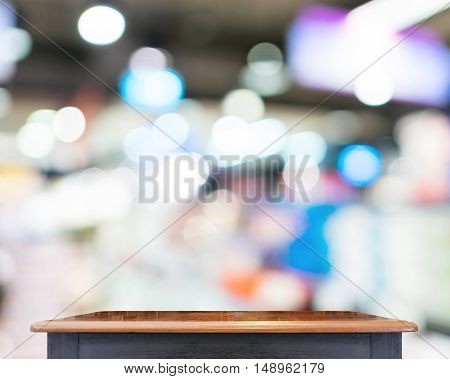 Empty Black Vintage Table Top At Store Blurred Background With Bokeh Light,template Mock Up For Disp