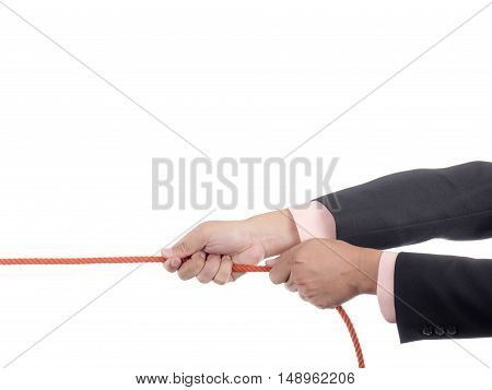 Businessman pull a rope on isolated / white background.