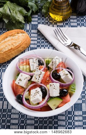 Greek Salad In White Bowl