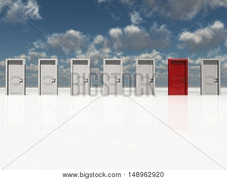 Single red door among several white doors  3D Render