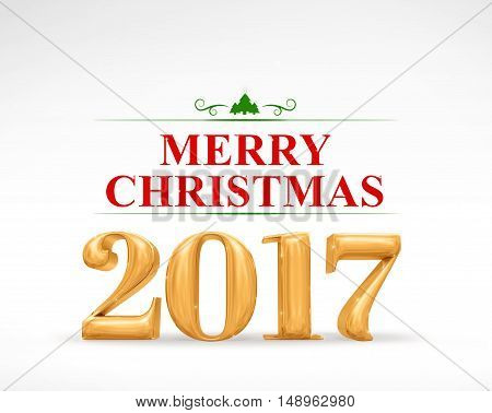 2017 Merry Christmas Golden Number (3D Rendering) On White Studio Room,holiday Card