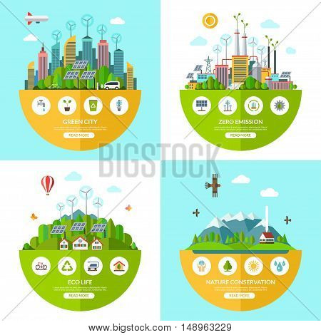 Set of flat vector ecology illustrations with icons of environment, green city, eco life, nature conservation, planet saving, alternative energy, zero emissions, recycling, eco-friendly transport