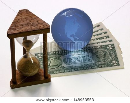 Hourglass with money time currency US dollar
