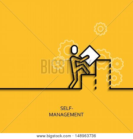 Vector business illustration in linear style with a picture of self-management as man builds a graph on yellow background poster or banner template.
