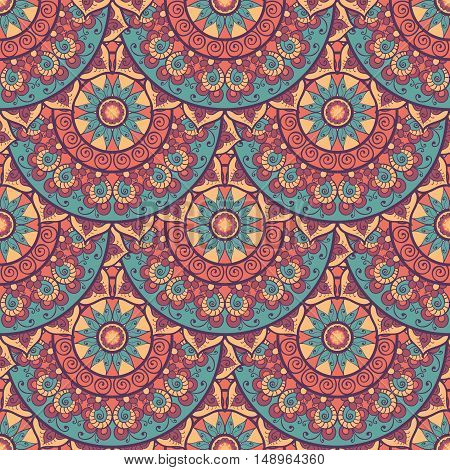 Seamless ethnic pattern with mandala. Vintage decorative elements. Hand drawn background. Islam Arabic Indian ottoman motifs.