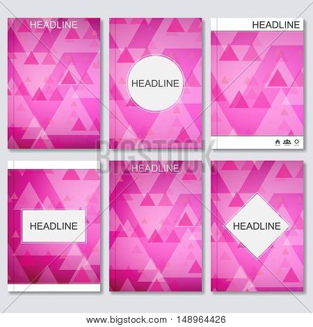 Modern vector templates for brochure, flyer, cover magazine or report in A4 size. Abstract geometric background with triangles. Vector illustration.