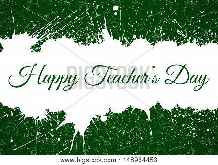 Vector Happy Teacher s Day over white paint blots and education seamless pattern. Background for education projects holidays and designs. Seamless pattern in swatches panel