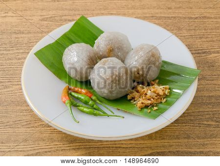 Thai Traditional Dessert Tapioca Balls Made From Glutinous Rice Filled with Minced Pork and Sweet Pickled Daikon Radish.