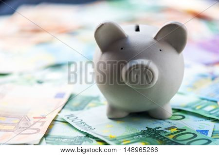 pig money box with cash closeup