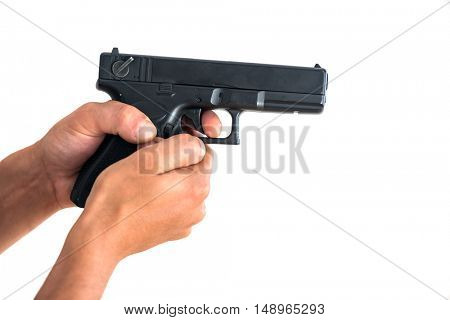 hand and gun isolated on white