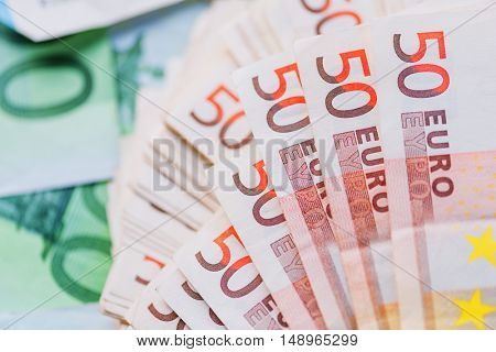 euro cash background closeup