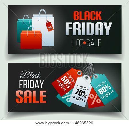 Black Friday sale banner set