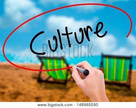 Man Hand Writing Culture With Black Marker On Visual Screen