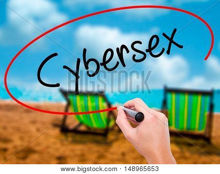 Man Hand Writing Cybersex  With Black Marker On Visual Screen