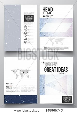 Set of business templates for brochure, magazine, flyer, booklet or annual report. Polygonal backdrop with connecting dots and lines, connection structure, blue background. Digital or science vector