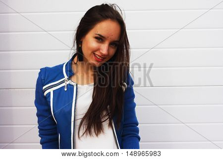 Beautiful girl on a white background russia girl