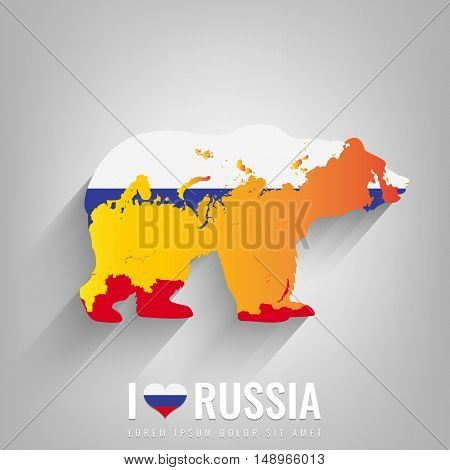 National Russia symbol Bear with an official flag and map silhouette. Russian Federation. Vector illustration