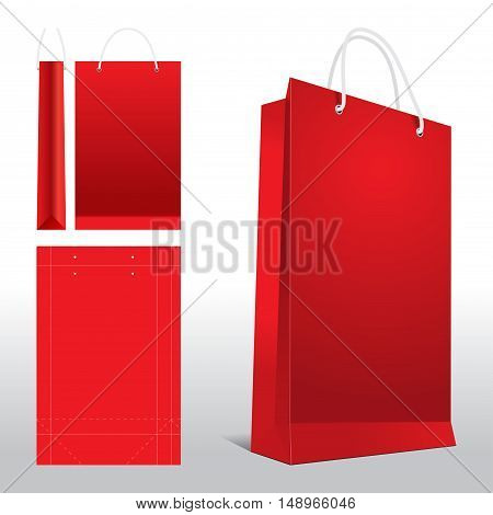 Red paper shopping bags in a store