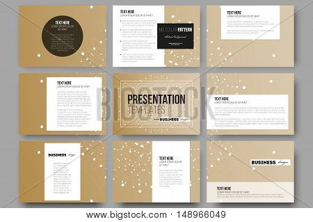 Set of 9 vector templates for presentation slides. Abstract polygonal low poly backdrop with connecting dots and lines, golden background, connection structure. Digital or science vector