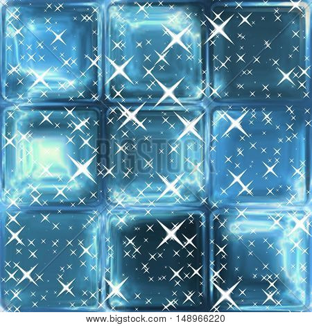 Silver stars on abstract blue window background