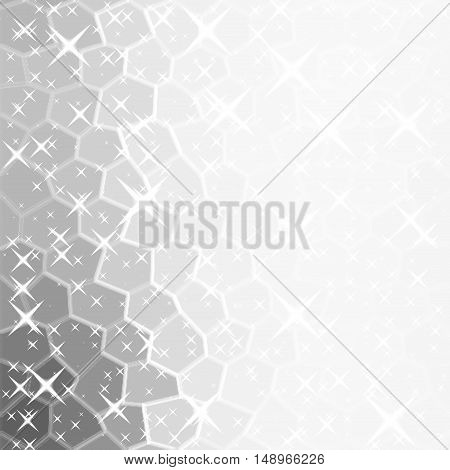 Glittery lights silver stars abstract white christmas background